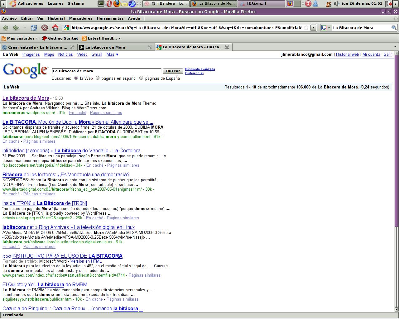 La bitacora de Mora en Google