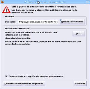 Añadir excepción de seguridad para SGAE
