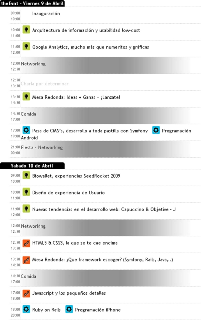Programa Provisional EVNT Cáceres2010